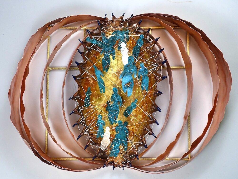 Conversation-Talk-of-the-Town-Carolyn-Enz-Hack-copper-mica-steel-goldleaf-20x27x6-2019-7fd979b9